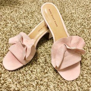 Women's Ruffle Heeled Slide Sandals